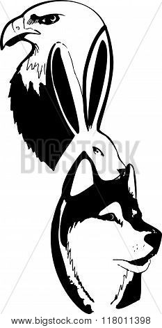 Black And White Abstraction From Animals, Eagle, Hare, Wolf, Passing Into Each Other