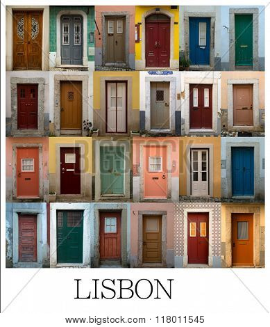 A collage of Portuguese coloured doors presented in a white border with the city name Lisbon.