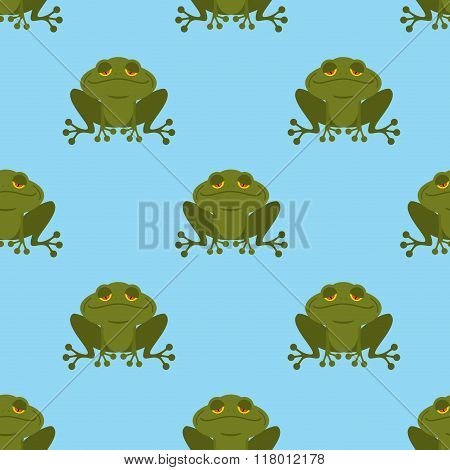 Frog In Water Seamless Pattern. Blue Lake And Green Toad. Texture For Childrens Fabric. Amphibious R