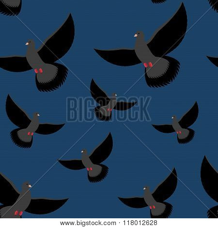 Black Dove Seamless Pattern. Gray Pigeons Fly At Night. Background Of Flying Birds. Winged Night Pig