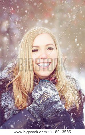 Girl In Frost, In Winter A Sheepskin Coat