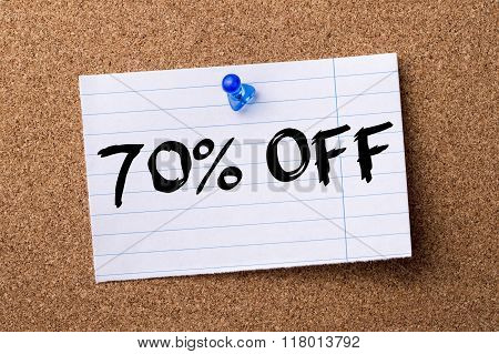 70 Percent Off - Teared Note Paper  Pinned On Bulletin Board
