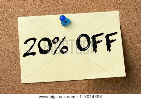 20 Percent Off - Adhesive Label Pinned On Bulletin Board
