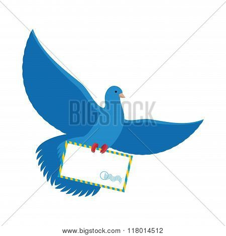 Postal Pigeon. Blue Dove With Envelope. Blue Bird Postman Carries Paper Letter In Its Paws.