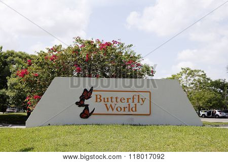Large Butterfly World Sign Outside