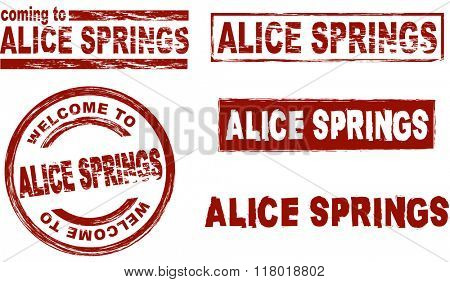 Set of stylized ink stamps showing the city of Alice Springs