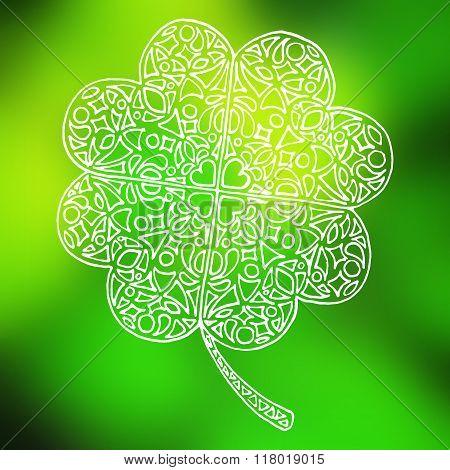 Doodle Zentangle Line Art Clover Shamrock Saint Patrick's Day