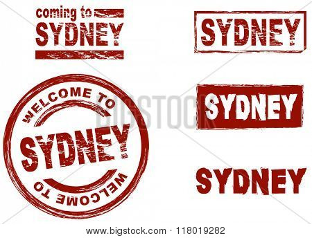 Set of stylized ink stamps showing the city of Sydney