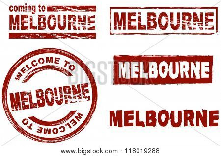 Set of stylized ink stamps showing the city of Melbourne