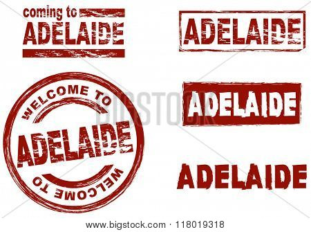 Set of stylized ink stamps showing the city of Adelaide