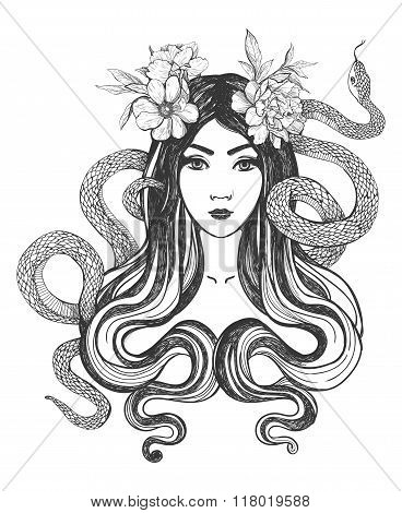Woman with flowers and snakes. Tattoo art.