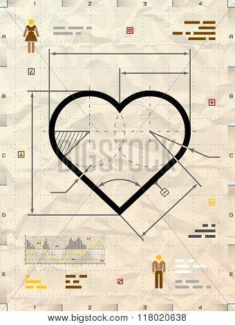 Heart Sign As Technical Blueprint Drawing