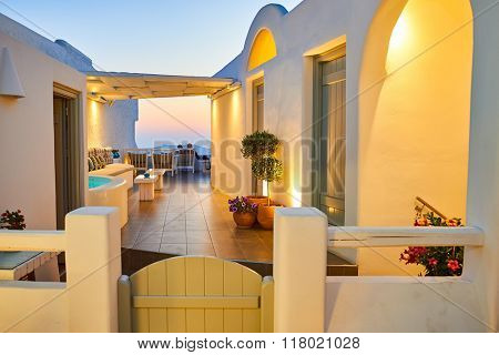 SANTORINI, GREECE - AUGUST 07, 2015: interior of the hotel at Santorini island at evening. Santorini island is the largest island of a small, circular archipelago which bears the same name