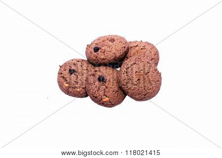 Chocolate cereal bar on a white background with clipping path