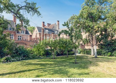 Courtyard Garden With Old Historic Houses Of Beguinage At Antwerp, Belgium