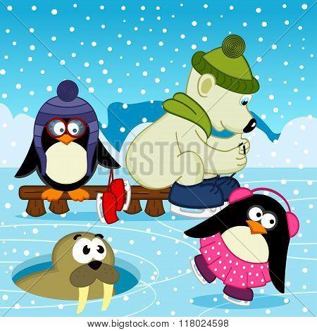 polar bear walrus penguin on rink