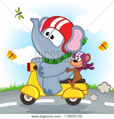 elephant and mouse riding scooter