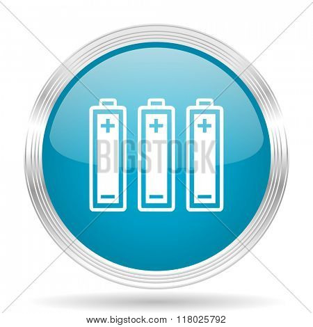 battery blue glossy metallic circle modern web icon on white background