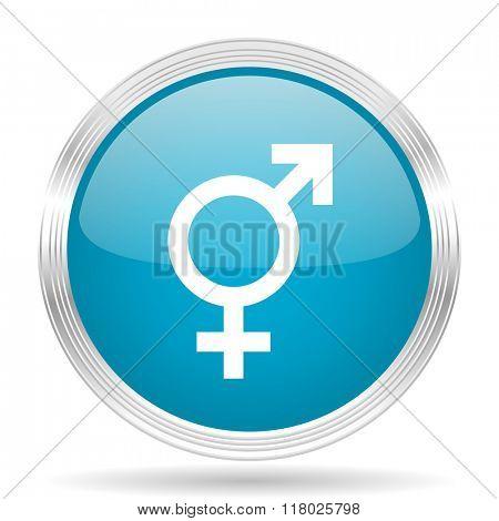 sex blue glossy metallic circle modern web icon on white background