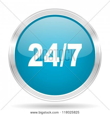 24/7 blue glossy metallic circle modern web icon on white background