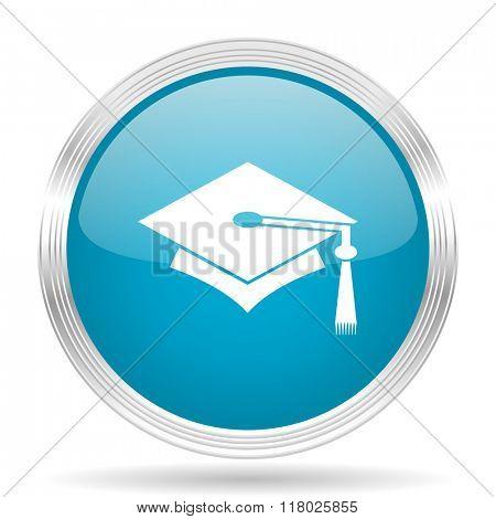 education blue glossy metallic circle modern web icon on white background