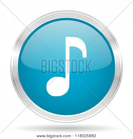 music blue glossy metallic circle modern web icon on white background