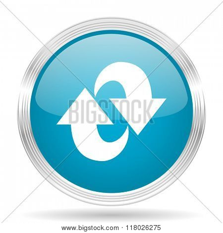 rotation blue glossy metallic circle modern web icon on white background