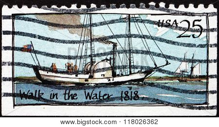 Postage Stamp Usa 1989 Walk In The Water, Steamboat