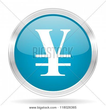 yen blue glossy metallic circle modern web icon on white background