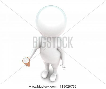 3D Man Holding Ice Cream In Hands Concept