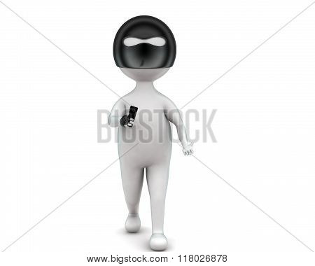 3D Robbery Man Holding Gun In Hand Concept