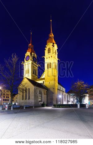 The Twin-towered Town Church In Winterthur