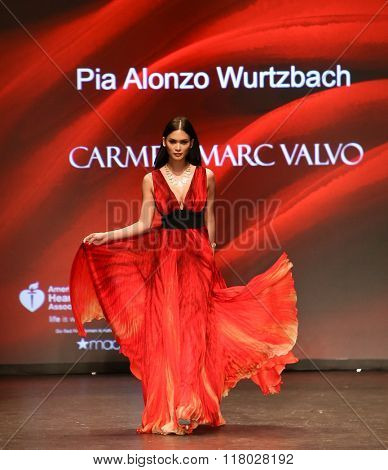 NEW YORK-FEB 11: Miss Universe 2016 Pia Alonzo Wurtzbach wears Carmen Marc Valvo at Go Red for Women Red Dress Collection 2016 at New York Fashion Week on February 11, 2016 in New York City.