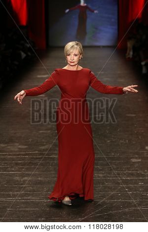 NEW YORK-FEB 11: Florence Henderson wears Pamella Roland at Go Red for Women Red Dress Collection 2016 Presented by Macy's at New York Fashion Week on February 11, 2016 in New York City.
