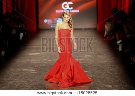 NEW YORK-FEB 11: Actress Alexa Pena Vega wears Gustavo Cadile at Go Red for Women Red Dress Collection 2016 Presented by Macy's at New York Fashion Week on February 11, 2016 in New York City.