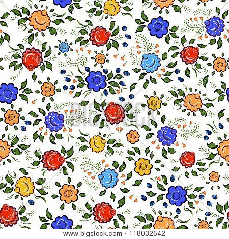 Seamless Folk Background.colorful Flowers And Leafs On White Background.