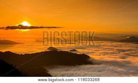 Sunset Phu chi fa in Chiangrai Thailand