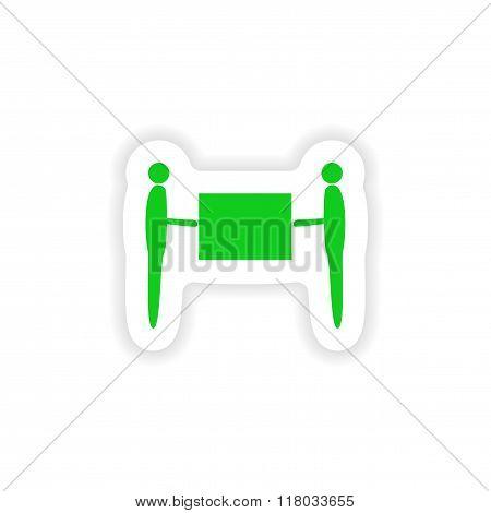 icon sticker realistic design on paper movers