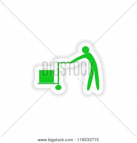 icon sticker realistic design on paper mover