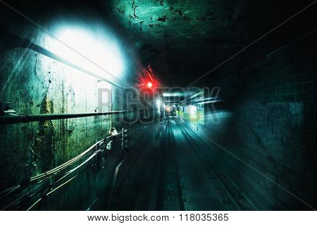Dark Underground Tunnel. Grunge Image With Grain Texture