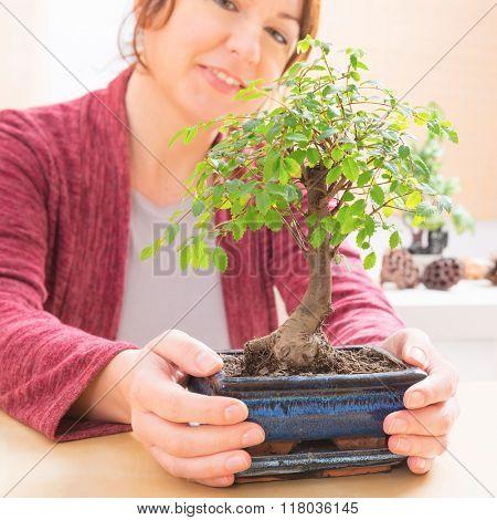 Beautiful woman holding bonsai tree