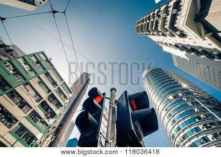 Hong Kong Futuristic Cityscape With Traffic Semaphore