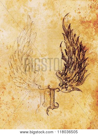 pencil drawing on old paper. angel wings and rome number, God and Devil wings. Sepia color.
