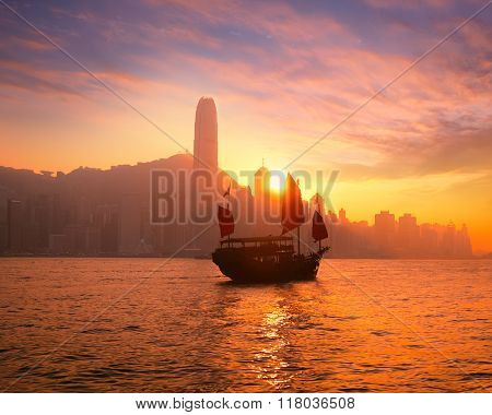 Traditional Cruise Sailboat At Sunset Hong Kong