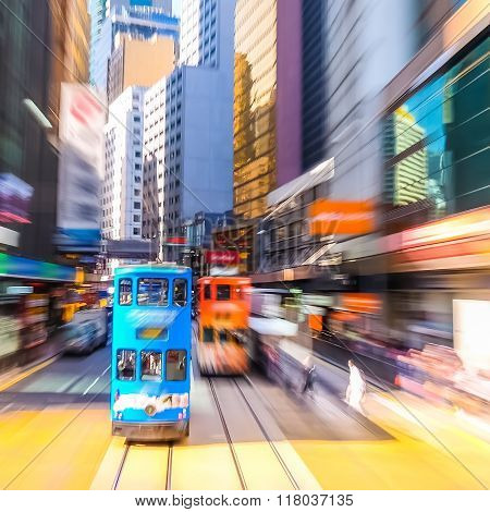 Hong Kong. Blurred Cityscape View With Blue Tramway