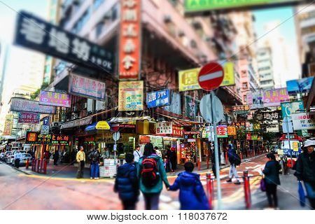 People Walking At Crowded Streets. Hong Kong