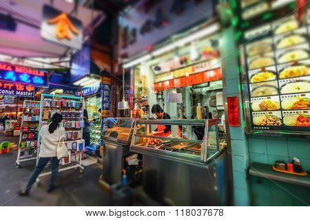Selling Asian Food In Traditional Street Shop. Hong Kong