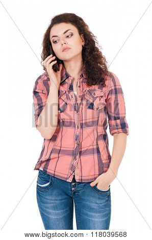 Unhappy girl with cellular telephone, isolated on white background