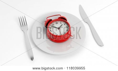 Fork, knife and red alarm clock on plate, isolated on white background.