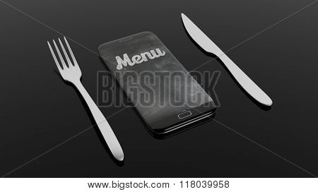 Fork, knife and smartphone with Menu written on screen, isolated on black background.